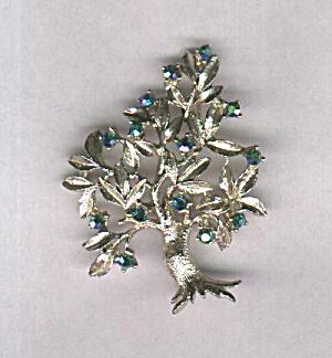 DODDS TURQUOISE RHINESTONE TREE PIN (Image1)