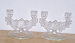 Pair Of Clear Glass Double Candlesticks