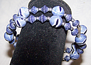 Multi Grey & White Beaded Expansion Bracelet