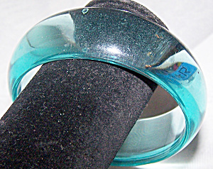 Transparent Turquoise Hard Plastic Bangle Bracelet