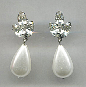 Pearl Drop Earrings, Rhinestone Backers