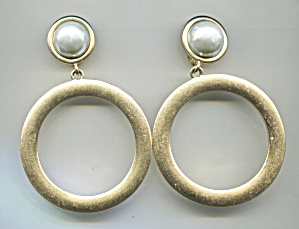 Carolee Gold Tone Hoop Clip-back Earrings