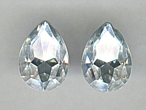 Clear Rhinestone Foil Back Pierced Earrings