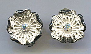 Germany White Enam. Flowers, Rhinestone Center, Earring