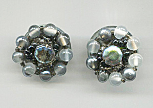 Japan, Grey & Black Bead Cluster Clip-back Earrings