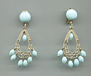 Hong Kong Turquoise Plastic Beads, Gold Drop Earrings