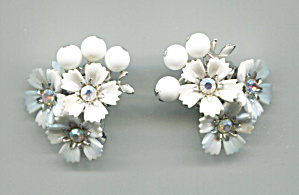Coro White Plastic Flower Earrings, Rhinestone Centers