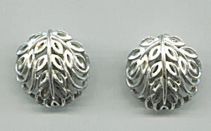 Lisner Silver Tone Dome Shape Clip-back Earrings