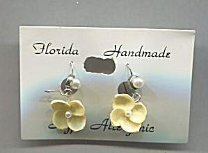 Florida Handmade Shell Flower Earrings, Original Card