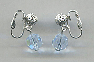 Blue Crystal Drop, Silver Filigree Ball Clip Earrings