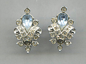 Rhinestone & Blue Glass Screw-back Earrings