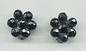 West Germany Jet Black Glass Beads Clip-back Earrings