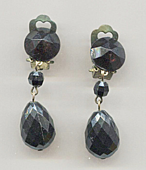 West Germany Jet Black Drop Clip-back Earrings