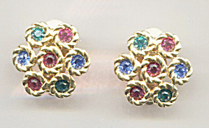Swarovwski Multi-colored Crystal Clip-back Earrings