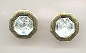 Swarovski S.a.l. Clear Faceted Crystal Pierced Earrings