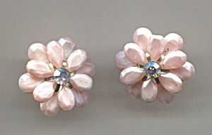 Pink Plastic Screw-back Earrings, Rhinestone Center