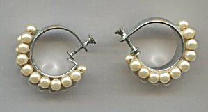 Triple Row Faux Pearls On Silver Screw-back Earrings