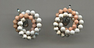 Pink, Grey & White Twisted Beads Screw-back Earrings