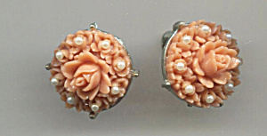 Molded Pink Rose W/pearls Screw-back Earrings