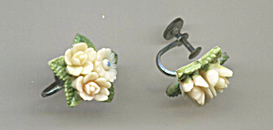 Molded 3 White Roses, Green Leaves, Screw-back Earrings