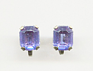 Emerald Cut Blue Stone, Gold Tone Screw-back Earrings