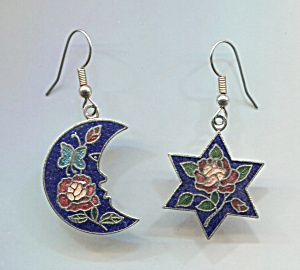 Black Enamel Moon & Stars Wire Pierced Earrings