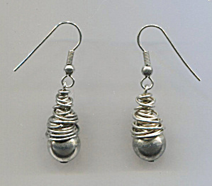 Silver Ball & Wire Drop Pierced Earrings