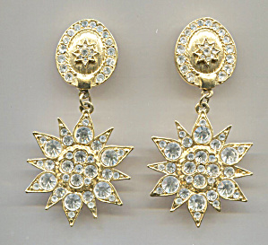 Gold Disc & Flower W/rhinestone Chips Clip-back Earring