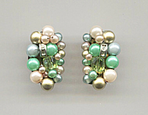 Japan Cluster Green & White Beads Clip-back Earrings