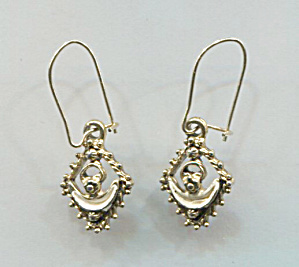 Dainty Gold Tone W/white Enamel Pierced Earrings