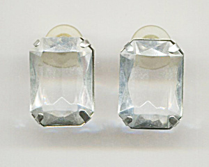 Very Large Oblong Glass Pierced Earrings, Silver Frame