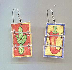 Hot Peppers & Cactus Plastic Sectional Pierced Earrings