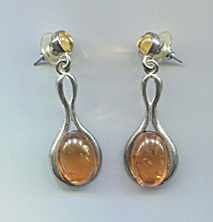 Amber Plastic Drop & Post, Silver Tone Pierced Earrings