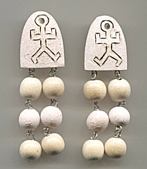Wood Arch, Primitive Design, 3 Drop Balls, Earrings