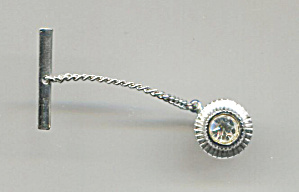 Clear Rhinestone In Silver Tone Tie Pin W/chain