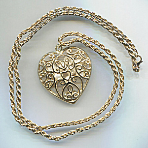 Open Work Scroll Heart Pendant W/pearl Necklace