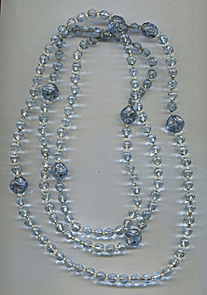 Shades Of Blue Glass Rope Necklace, 60 In.