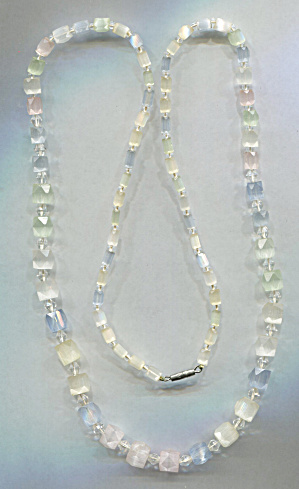 Long Pastel Glass Necklace, 29 In.