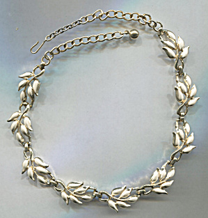 1950's Style White Enamel Flowers On Gold Necklace