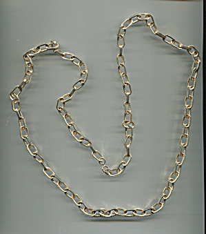 Long Gold Tone Link Chain Necklace