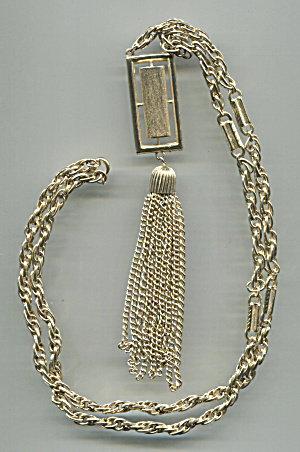 Long Gold Tone Chain, Pendant, Multi-chains Tassel Neck