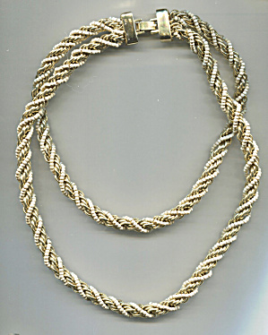 Gold & Seed Pearls 2 Strands Twisted Choker Necklace
