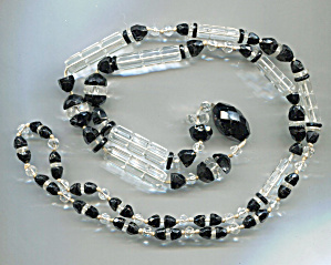 Black & Clear Crystal Rope Necklace