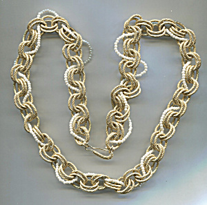 Gold Chain & Seed Pearls Entwined Necklace