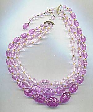West Germany 3 Strands Pink Plastic Shades Necklace