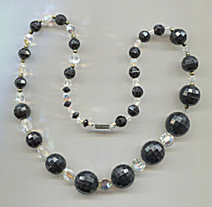 Jet Black Plastic Beads, Glass Crystals, Necklace