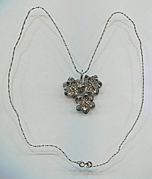 Fine Wire Work 3 Flowers On .925 Silver Chain Necklace