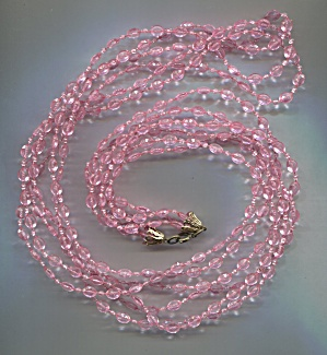 3 Strands Gold Capped Pink Plastic Beads Rope Necklace