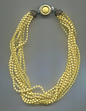 12 Strands Yellow Plastic Beads Choker, Matching Clasp