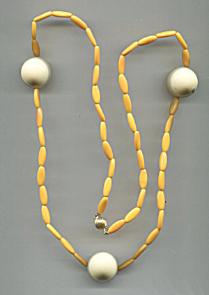 Orange Plastic Tubes, Lg. White Balls, Long Necklace